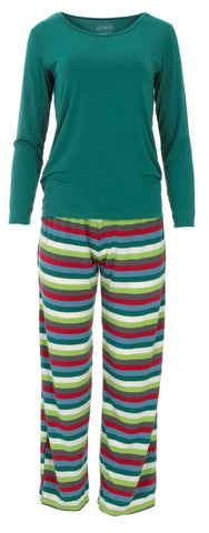 KicKee Pants 2020 Multi Stripe Women's L/S Loosey Goosey Tee & Pant Set