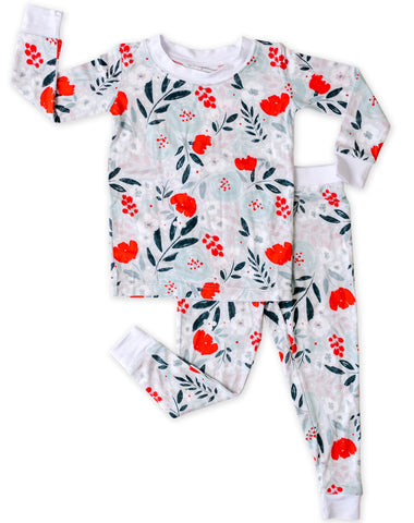 Little Sleepies Winter Floral Bamboo 2pc Pajama Set