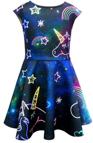 Hannah Banana Navy Fantasy Unicorn Print Dress Basically Bows & Bowties