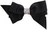 Bari Lynn Black XLarge Grosgrain Hair Bow w/Swarovski Crystals on Clippie