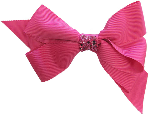 Bari Lynn Shocking Pink XLarge Grosgrain Hair Bow w/Swarovski Crystals on Clippie