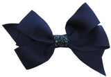 Bari Lynn Navy Blue XLarge Grosgrain Hair Bow w/Swarovski Crystals on Clippie