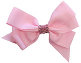 Bari Lynn Pink XLarge Grosgrain Hair Bow w/Swarovski Crystals on Clippie