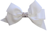 Bari Lynn White XLarge Grosgrain Hair Bow w/Swarovski Crystals on Clippie
