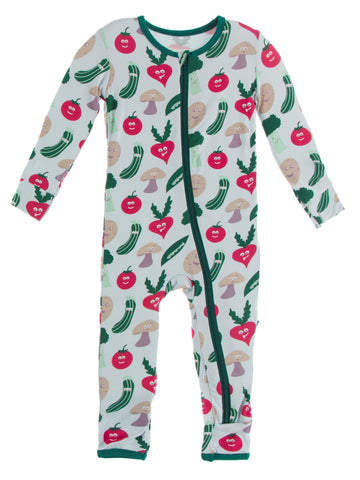 KicKee Pants Illusion Blue Happy Veggies Coverall with Zipper