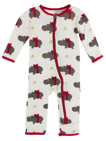 KicKee Pants Natural Christmas Hippo Coverall with Zipper