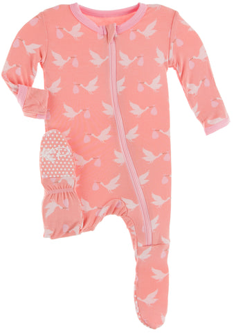 KicKee Pants Blush Stork Footie with Zipper