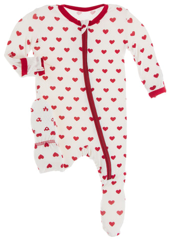 KicKee Pants Natural Hearts Footie with Zipper