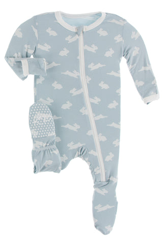 KicKee Pants Pearl Blue Bunny Footie with Zipper
