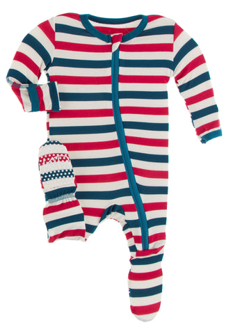 KicKee Pants USA Stripe Footie with Zipper
