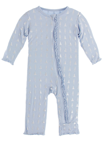 KicKee Pants Frost Silver Trees Muffin Ruffle Coverall with Zipper