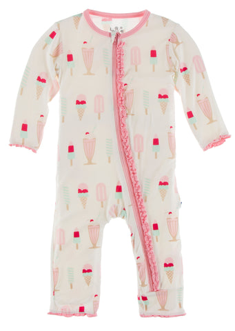 KicKee Pants Natural Ice Cream Shop Muffin Ruffle Coverall with Zipper