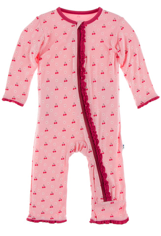 KicKee Pants Lotus Cherries and Blossoms Muffin Ruffle Coverall with Zipper