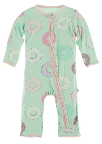 KicKee Pants Pistachio Donuts Muffin Ruffle Coverall with Zipper