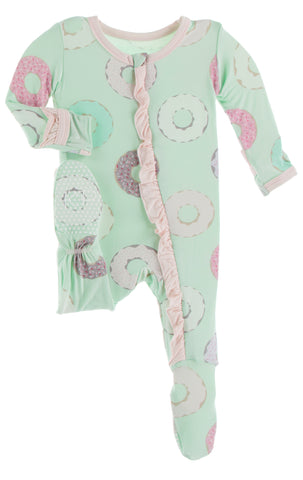 KicKee Pants Pistachio Donuts Classic Ruffle Footie with Zipper