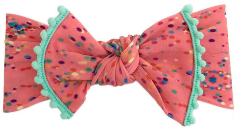 Baby Bling Confetti w/Mint Trimmed Knot Headband - Basically Bows & Bowties
