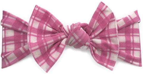 482047324065d Baby Bling Hot Pink Plaid Printed Knot Headband - Basically Bows   Bowties