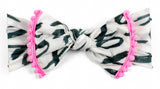 Baby Bling White  & Black XOXO w/Neon Pink Pom Trimmed Printed Knot Headband - Basically Bows & Bowties