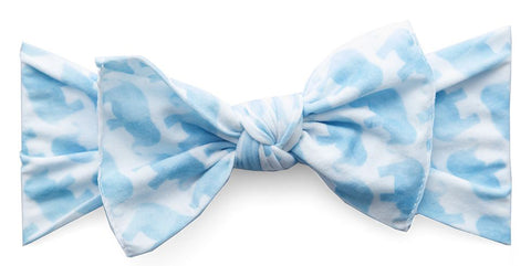 Baby Bling Blue Elephant Printed Knot Headband - Basically Bows & Bowties
