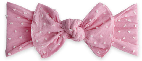 Baby Bling Bubblegum Shabby Dot Patterned Knot Headband - Basically Bows & Bowties