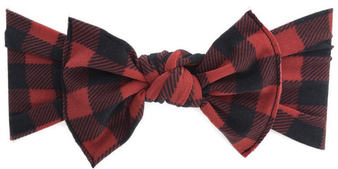 Baby Bling Buffalo Plaid Printed Knot Headband - Basically Bows & Bowties