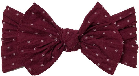 Baby Bling Burgundy Shabby Dot Patterned Knot Headband Basically Bows & Bowties