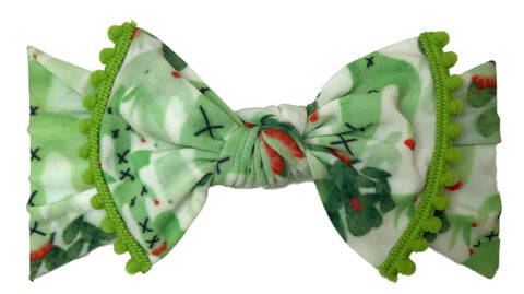 Baby Bling Cactus w/Kiwi Pom Trimmed Knot Headband - Basically Bows & Bowties