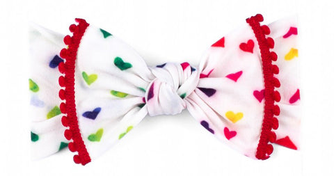Baby Bling Care Bear Pom Trimmed Knot Headband-Primary Heart - Basically Bows & Bowties