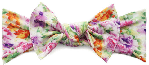 Baby Bling Light Orchid Floral Printed Knot Headband