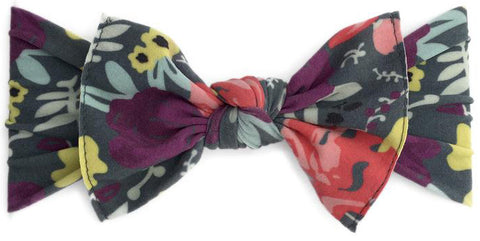 Baby Bling Grey Pop Floral Printed Knot Headband - Basically Bows & Bowties