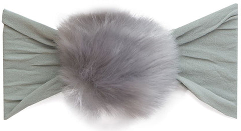 Baby Bling Fur Pom Headband-Grey - Basically Bows & Bowties