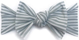 Baby Bling Grey Stripe Printed Knot Headband - Basically Bows & Bowties