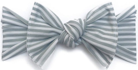 Baby Bling Grey Stripe Printed Knot Headband