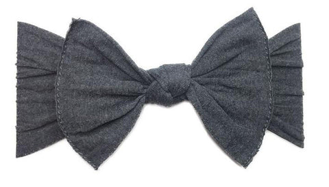 Baby Bling Charcoal Heather Grey Patterned Knot Headband - Basically Bows & Bowties