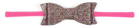 Baby Bling Glitter Bow Tie Skinny Headband-Hot Pink - Basically Bows & Bowties