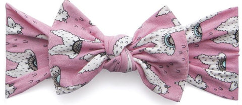 Baby Bling Pink Llama Printed Knot Headband - Basically Bows & Bowties