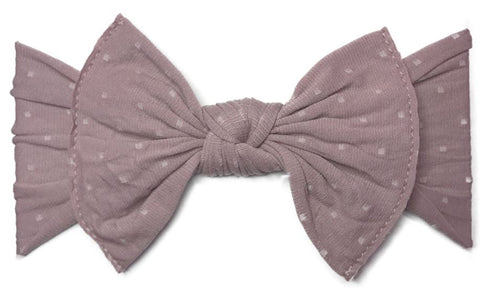 Baby Bling Mauve Dot Patterned Knot Headband