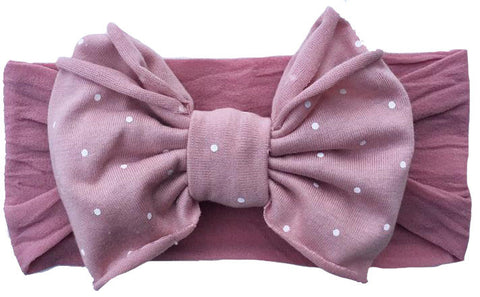 Baby Bling Mauve Dot Jersey Bow Headband - Basically Bows & Bowties