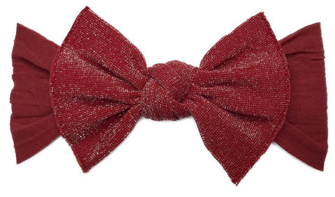 Baby Bling Metallic Knot Headband-Cherry - Basically Bows & Bowties