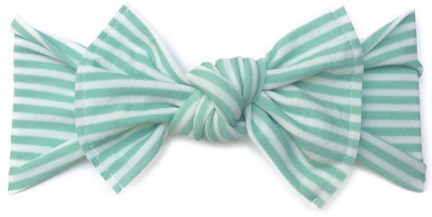 Baby Bling Mint Stripe Printed Knot Headband - Basically Bows & Bowties