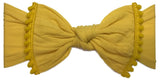 Baby Bling Classic Knot w/Pom Trimmed Headband (10 Colors) - Basically Bows & Bowties