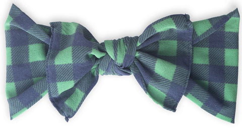 Baby Bling Navy & Green Plaid Printed Knot Headband - Basically Bows & Bowties