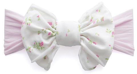Baby Bling Pink Floral Jersey Bow Headband - Basically Bows & Bowties