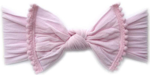 4edbfcfb3debf Baby Bling Classic Knot w Pom Trimmed Headband (10 Colors) - Basically Bows