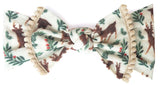 Baby Bling Reindeer w/Pom Trimmed Printed Knot Headband - Basically Bows & Bowties