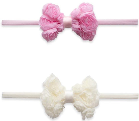 Baby Bling Mini Rose Bow 2pc Skinny Headband Set