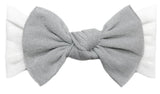 Baby Bling Metallic Knot Headband-Silver on White - Basically Bows & Bowties