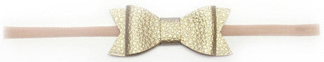 Baby Bling Skinny Leather Bow Tie Headband (15 Colors)