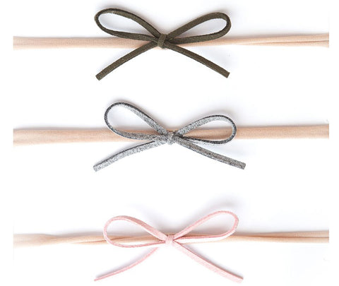 Baby Bling 3 Pack Suede Cord Headband Set-Grey/Pink/Army Green - Basically Bows & Bowties
