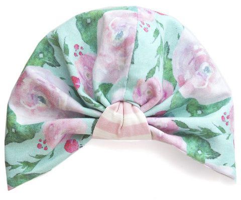 Baby Bling Watercolor Floral Mint Reversible Turban